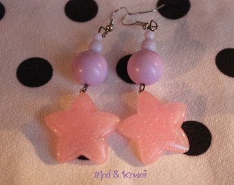 Pink star earrings