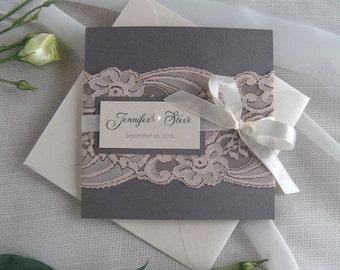Wedding Invitation, Lace Wedding Invitation, Dusty Pink Wedding Invitation, Wedding Invitation, Grey Wedding Invitation SAMPLE