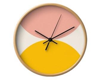 Geometric wall clock nordic clock mid century clock Housewarming gift geometric clock teal clock Mid century wall clock mid century clock