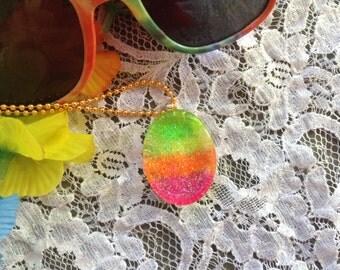 Rainbow Pendant, Glitter Jewelry, Glitter Resin, Resin Pendant