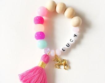 Bright Pink unicorn Bracelet