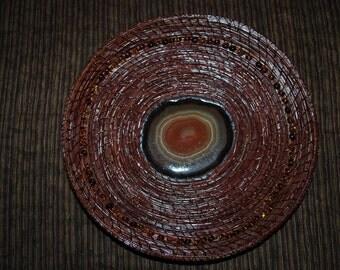 """Pine Needle Basket """"Bullseye Agate"""""""