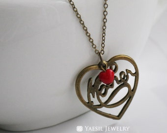 Mother's Necklace, Antiqued Brass Heart Necklace, Mom's Heart Necklace, Mother's Birthday Gift