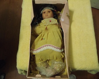 Goldenvale Porcelain Indian doll with Pillow
