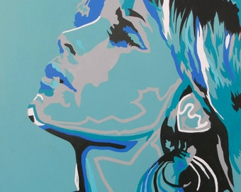 Abstract Female Portrait In Cyan And Blue Modern Abstract Figurative Art  Original Acrylic Painting Figure Study Original Canvas Art