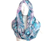 Blue Infinity Scarf, Flowers Scarf Extra Long Scarf, Chiffon Scarf, Silk Infinity Scarf, Print Infinity Scarf Loop Scarf Boho Infinity Scarf