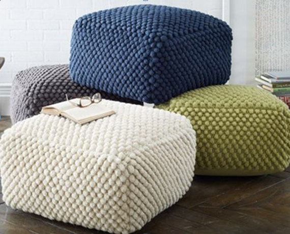crochet grey white blue green pouf ottoman knit stuffed. Black Bedroom Furniture Sets. Home Design Ideas