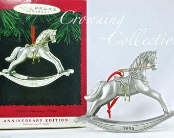 1995 Hallmark Pewter Rocking Horse Keepsake Ornament 15th Anniversary Edition Vintage Linda Sickman Christmas