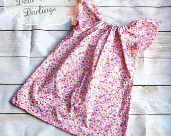 Girls Peasant Style Floral Dress, Girls Summer Dress, Girls Dress