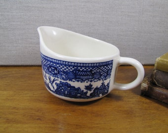 "Vintage ""Blue Willow"" Creamer - Creamy White - Blue"