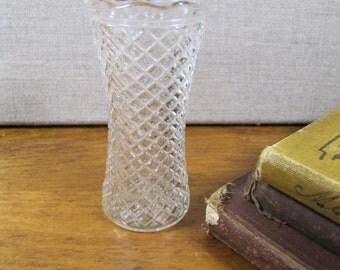 Small Pressed Glass Vase - Diamond Pattern - Scalloped Rim