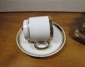 Small Gold Accent Teacup and Saucer Set