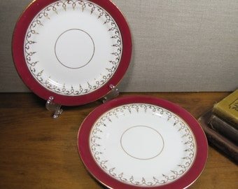 Vintage Red and Gold Dessert Plates - Set of Two (2)