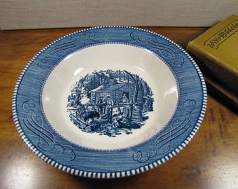 Royal Shallow Serving Bowl - Currier & Ives - Maple Sugaring