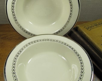 Shallow, Wide Rimmed Soup Bowls - Platinum Accent - Set of Two (2)