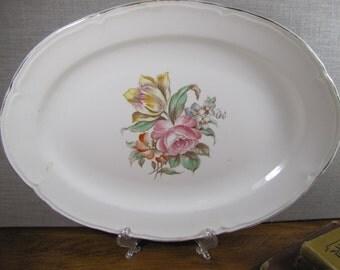 """Vintage Knowles Large Serving Platter - Floral Bouquet - 13 3/4"""""""