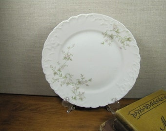 Carlsbad China Dessert Plate - Pale Pink Flowers - Embossed Rim - Made in Austria