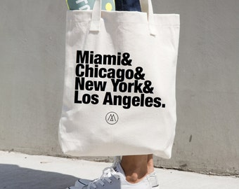 US Cities Custom Canvas Tote Bag