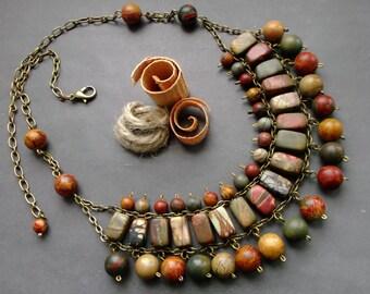 Tribal necklace Jasper Picasso. Ethno necklace Jasper. necklace Natural Multicolor Picasso Jasper. Tribal Jewelry. boho necklace gemstone.