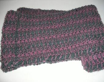 Beautiful heather shades handknit 100% wool scarf in driftstitch design