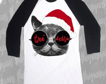 Small Tri Delta Holiday Cat Baseball Tee