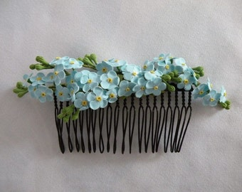 Forget me nots hair comb