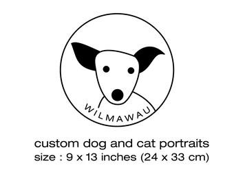 Custom Pet Portraits on wood - 9,4 x 12,9 inches