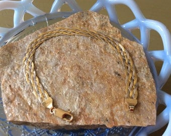 14kt Yellow and White Gold 3 Strand Braided Bracelet