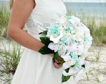 Brooch Wedding Bouquet, Aqua Wedding Bouquet, Turquoise Wedding Bouquet, Broch Wedding Bouquet, Beach Wedding Bouquet, Broach Bouquet