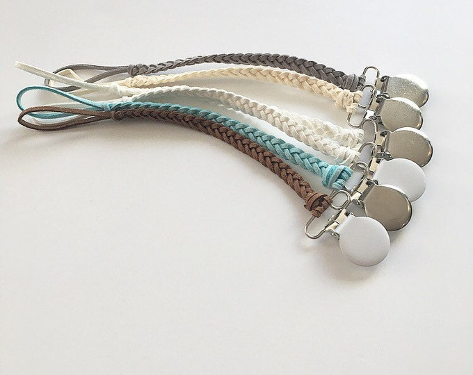 NomiLu Braided Suede Pacifier Clip (made on Silver Clasp)