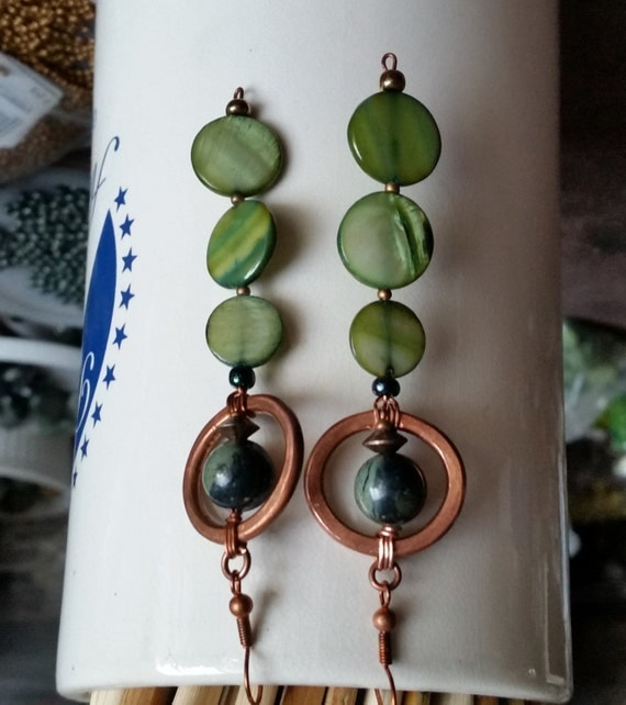 MOTHER OF PEARL 3-Disc Long Dangle Earrings with Kambaba Jasper Bead inside Hammered Copper Circle.