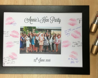Lipstick Kiss Frame Hen Party Night Do Bachelorette keepsake gift for bride to be game guest book Kiss the Miss Goodbye HPLSF102