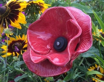 Red ceramic poppy Flanders style