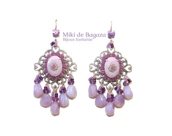 "Victorian style chandelier earrings ""Cyclamen"" with baroque glass beads and Swarovski crystal"