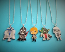 "Star Wars inspired - 20"" enamel charm necklace - r2d2 - darth vader - skywalker - yoda - trooper - fan gift - party bag fillers"