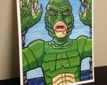 """11"""" x 14"""" Creature from the Black Lagoon Print FREE SHIPPING!"""