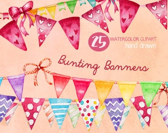 Bunting banners clipart, String banners, Watercolor clipart, Handpainted, Colorful banners, Birthday clipart, Party graphics, Rainbows