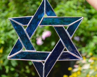 "STAR OF DAVID, Real Stained Glass,  Cobalt Blue, Beautiful !!!  9"" x 9""  Judaica, Hanukkah"