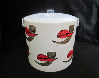 Vintage  Hunting Motif Vinyl Retro Ice Bucket Lucite Handle Hunting Hat and Horn