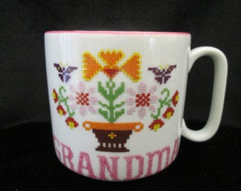 Vintage Grandma Cross Stitched Sampler Ceramic Mug Coffee Cup Planter Pencil Holder