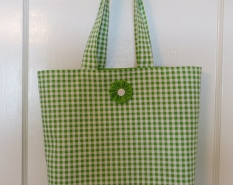 Gingham tote bag, green and white checked cotton, market bag, summer tote, gingham bag