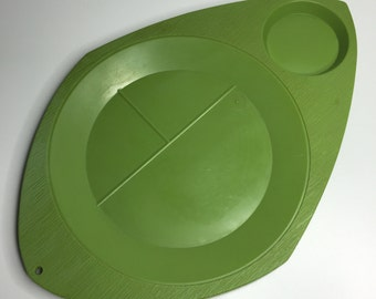 set of two green vintage plastic plate and cup holders