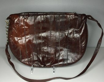 beautiful vintage chocolate brown eelskin purse