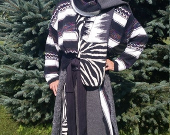 Ooak Black,Grey and White Recycled Sweater Coat