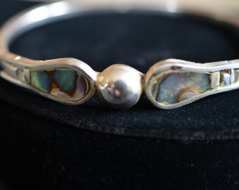 Silver and Abalone clasp bracelet marked Alpaca