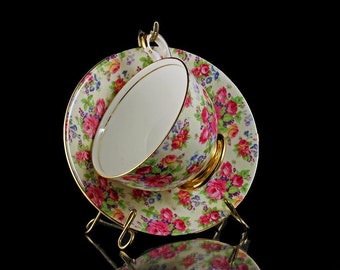 Teacup and Saucer, Old Royal, Chintz Tea Cup, Gold Footed