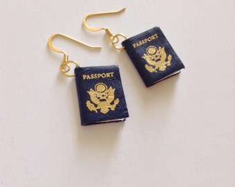 Passport Earrings, Travel Earrings, Passport Books, Blue Earrings, Travel Accessories