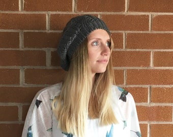 Winter beret hat, slouch beanie hat, winter hat, womens hat, grey hat, knitted hat, beret hat