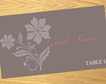 Place card, wedding place card template, download place card design, ALL COLORS available, beautiful floral design, 3.5x2 inches, #001-004