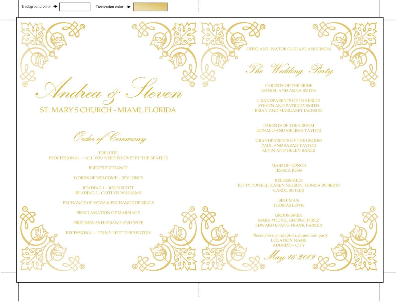 Gold Vintage Wedding Program Fan Template DIY Reception Menu Design Download Instantly